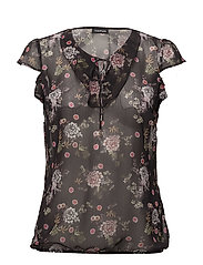 BLOUSE SHORT-SLEEVE - BLACK PRINT