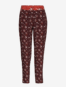 CROP LEISURE TROUSER - spodnie proste - deep burgundy patterned