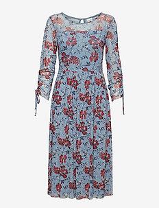 DRESS KNITTED FABRIC - LIGHT BLUE DENIM PATTERNED