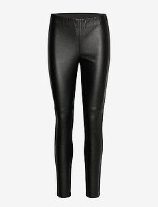 LEISURE TROUSERS LON - spodnie skórzane - black