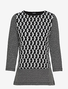 T-SHIRT 3/4-SLEEVE R - BLACK PATTERNED