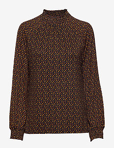 T-SHIRT LONG-SLEEVE - BLACK PATTERNED