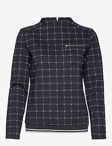 T-SHIRT LONG-SLEEVE - långärmade toppar - navy patternd