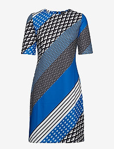 DRESS KNITTED FABRIC - COBALT BLUE PATTERNED