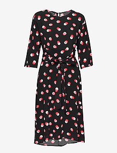 DRESS WOVEN FABRIC - do kolan & midi sukienki - black patterned