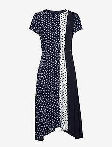 DRESS WOVEN FABRIC - do kolan & midi sukienki - blue shadow patterned