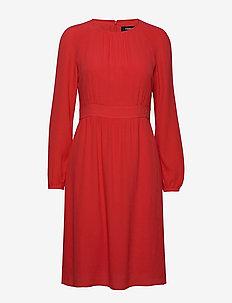 DRESS WOVEN FABRIC - do kolan & midi sukienki - lava red