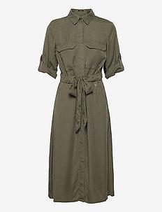 DRESS WOVEN FABRIC - midiklänningar - soft khaki