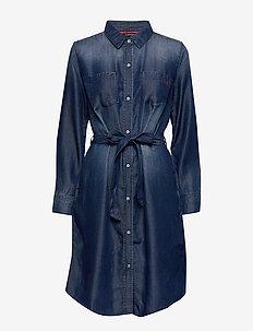 DRESS WOVEN FABRIC - shirt dresses - blue denim