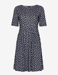 DRESS KNITTED FABRIC - krótkie sukienki - blue shadow patterned