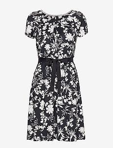 DRESS KNITTED FABRIC - krótkie sukienki - navy patternd