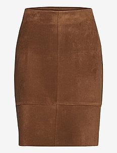 SKIRT SHORT WOVEN FA - midi kjolar - truffle brown