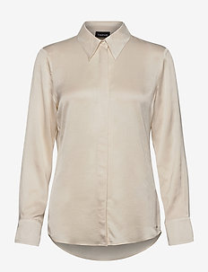 BLOUSE LONG-SLEEVE - långärmade blusar - winter white