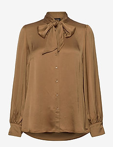 BLOUSE LONG-SLEEVE - långärmade blusar - toffee