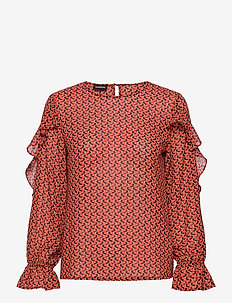 BLOUSE LONG-SLEEVE - långärmade blusar - carmine red patterned