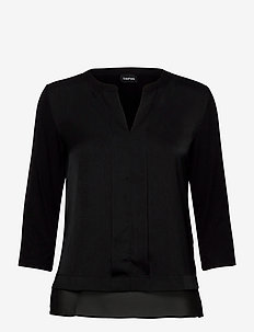 T-SHIRT 3/4-SLEEVE R - långärmade blusar - black