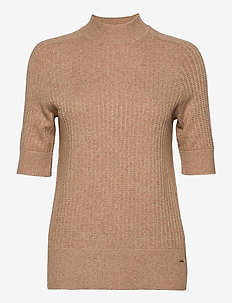 PULLOVER SHORT-SLEEV - knitted tops & t-shirts - toffee melange
