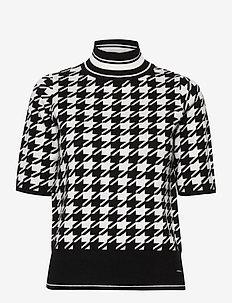 PULLOVER SHORT-SLEEV - gebreide t-shirts - black patterned