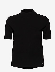 PULLOVER 3/4-SLEEVE - stickade toppar & t-shirts - black