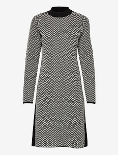 DRESS KNITWEAR - korta klänningar - black patterned