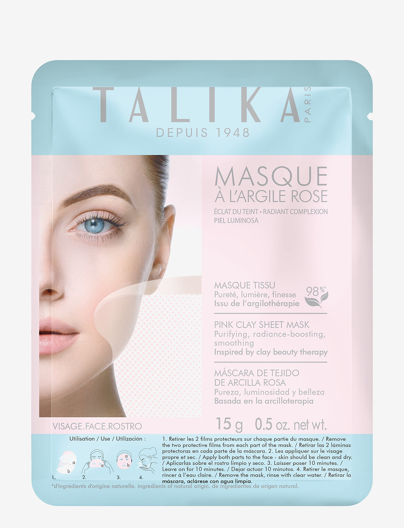 Talika - Pink Clay Sheet Mask - sheet mask - clear