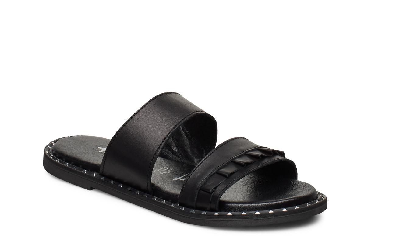 Tamaris Woms Slides - BLACK LEATHER