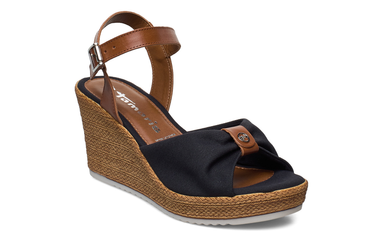 Tamaris Woms Sandals - NAVY/COGNAC