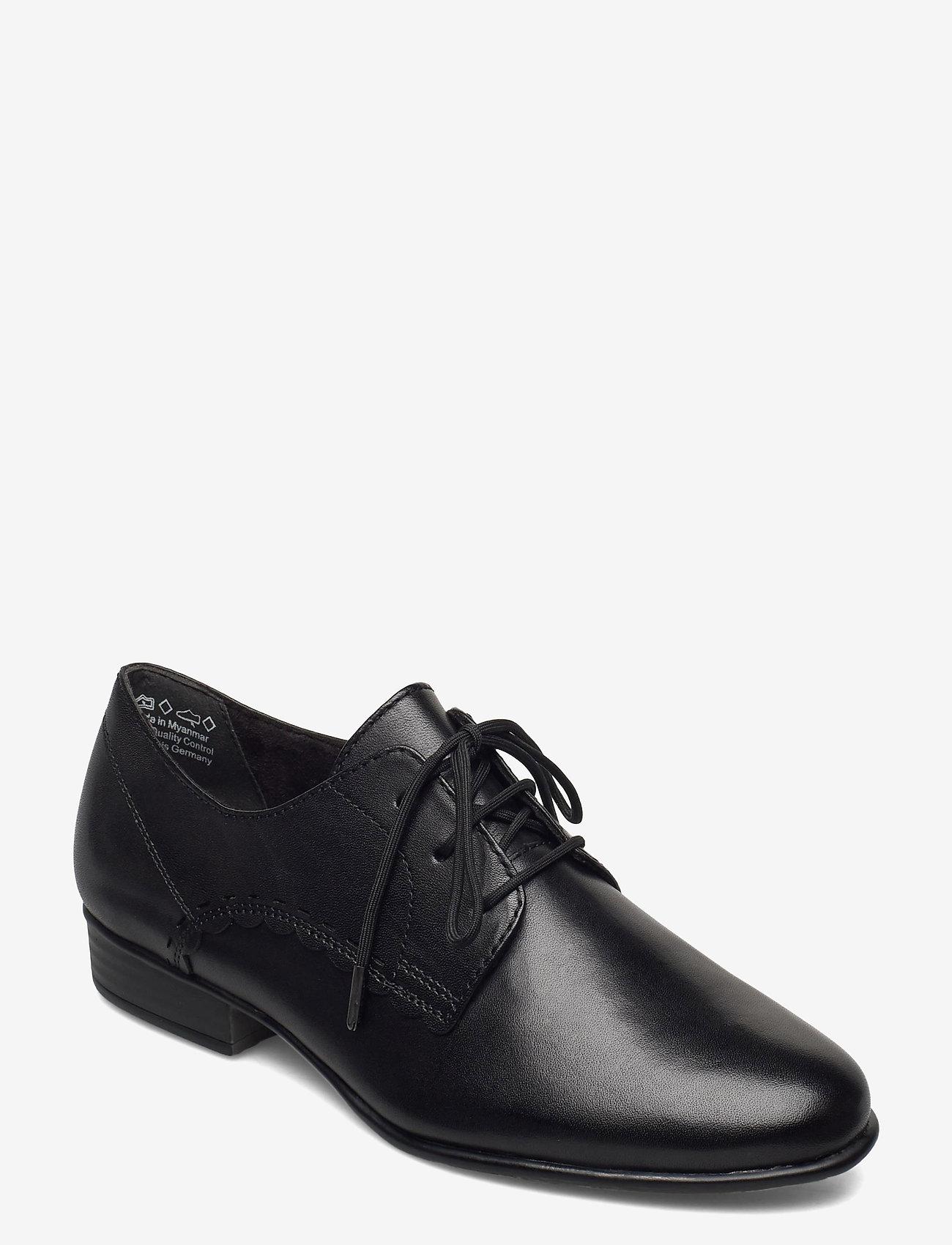 Tamaris - Woms Lace-up - snörskor - black leather - 1
