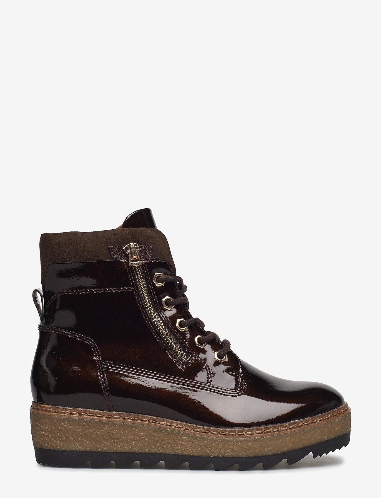 Tamaris - Woms Boots - talon bas - maroon pat.