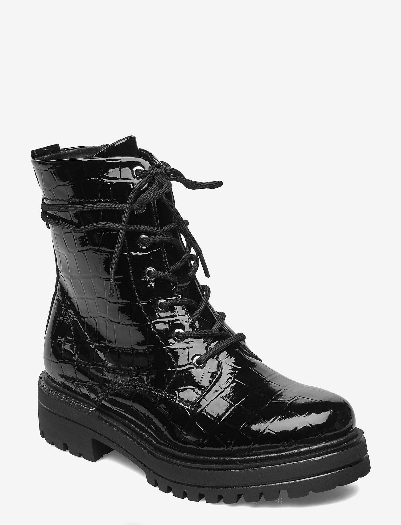 Tamaris - Woms Boots - platte enkellaarsjes - blk croco pat. - 0
