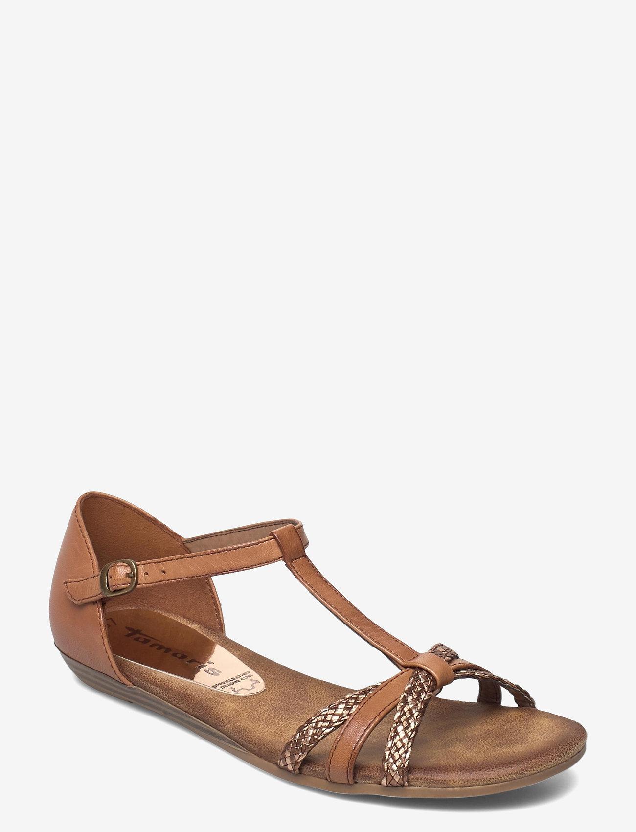 Tamaris - Woms Sandals - zempapēžu sandales - nut comb - 0