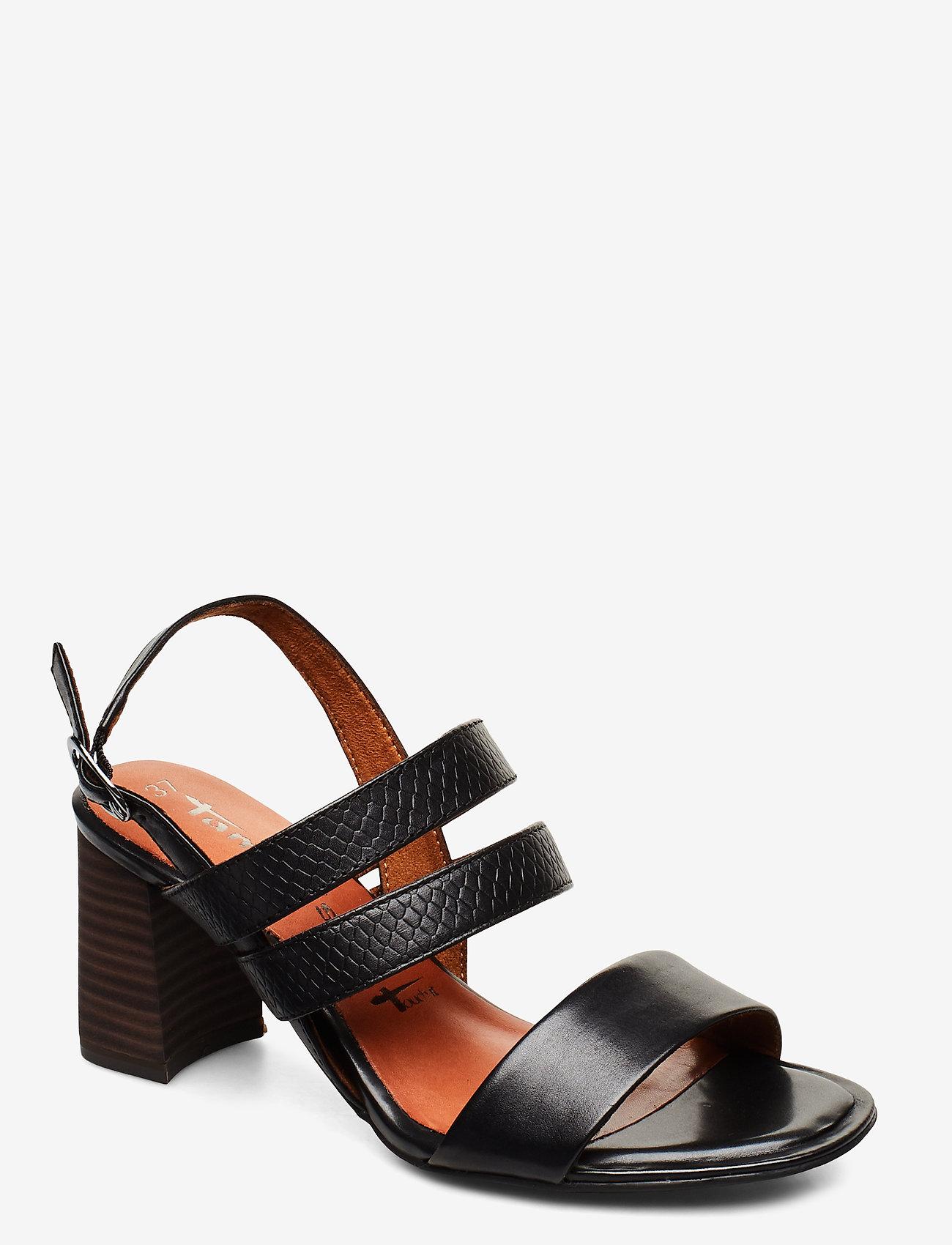 Tamaris - Woms Sandals - sandalen mit absatz - blk lea/snake - 0