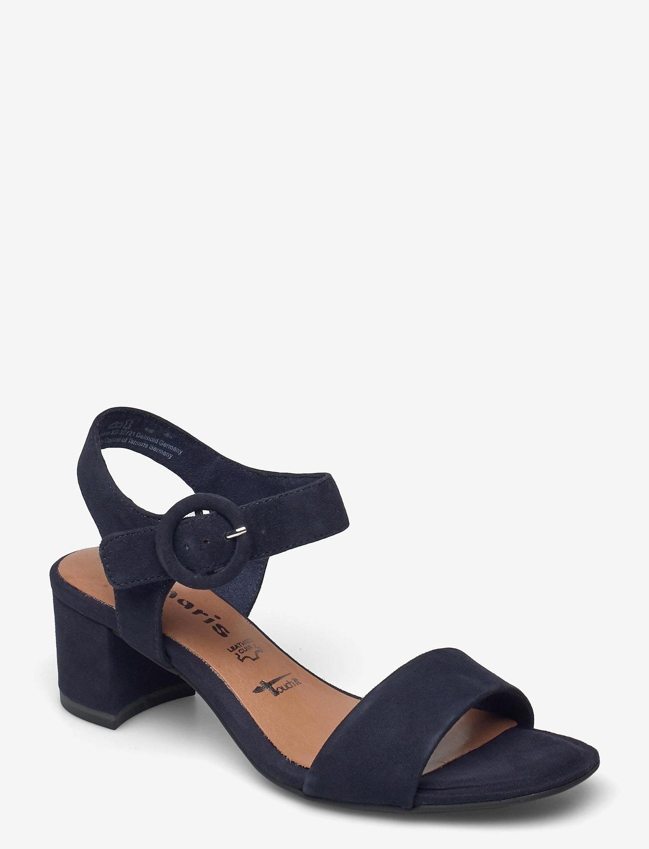 Tamaris - Woms Sandals - augstpapēžu sandales - navy suede - 0