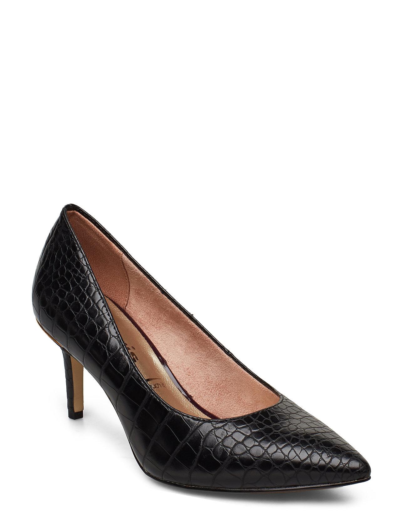 Tamaris Woms Court Shoe - BLACK CROCO