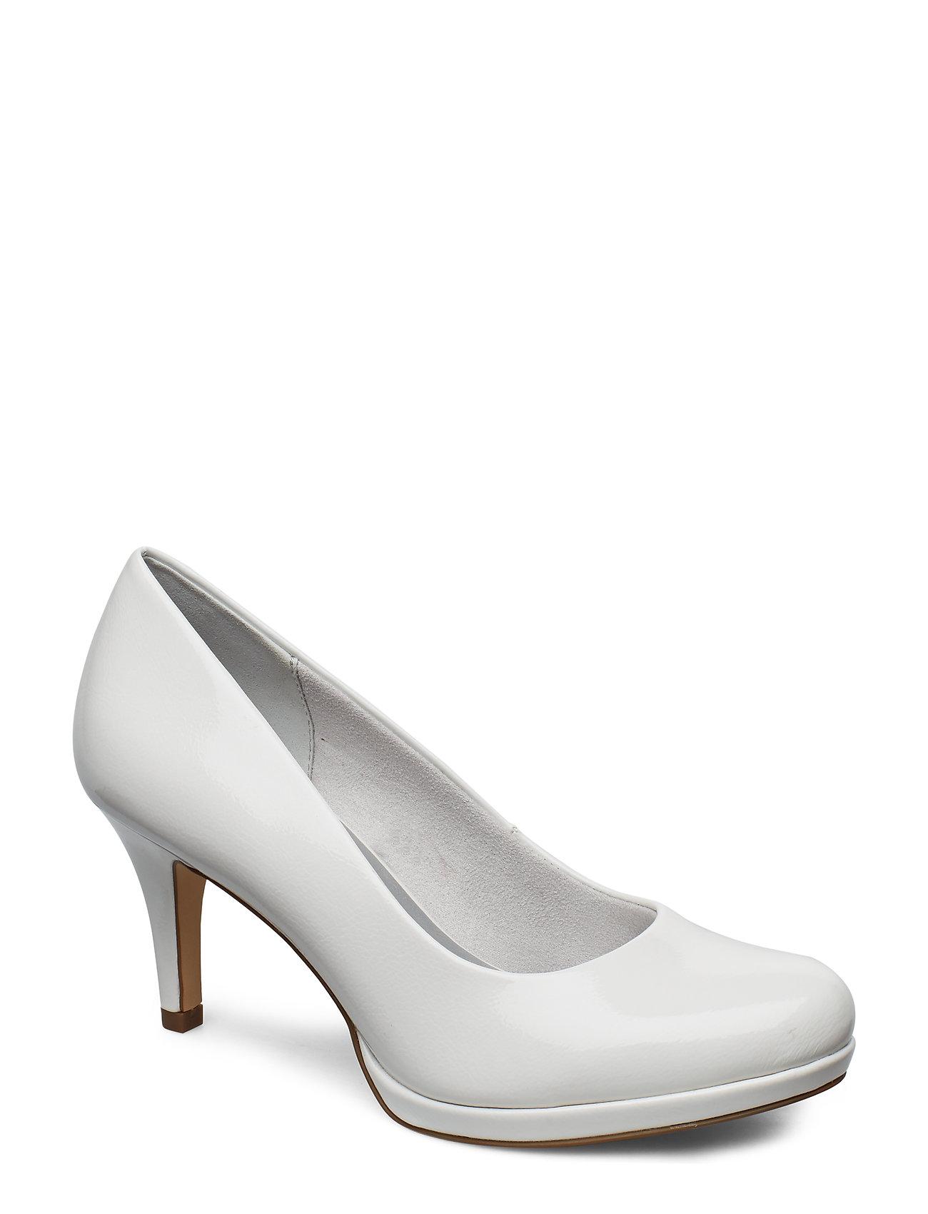 Tamaris Woms Court Shoe - WHITE PATENT