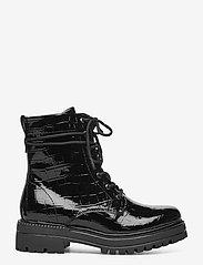 Tamaris - Woms Boots - platte enkellaarsjes - blk croco pat. - 1