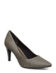 Woms Court Shoe - GOLD GLAM STR.