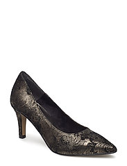 Woms Court Shoe - BLK/FLOWER MET