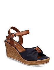 Woms Sandals - NAVY/COGNAC