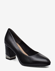 Woms Court Shoe - BLACK LEATHER