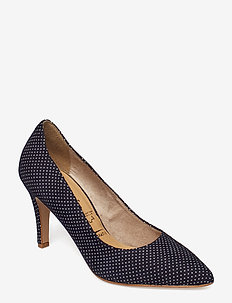 Woms Court Shoe - NAVY DOTS