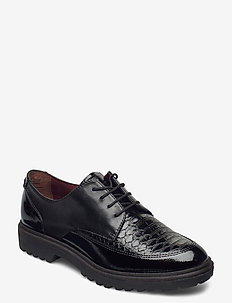 Woms Lace-up - nauhakengät - black pat.comb