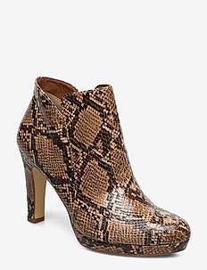 Woms Boots - ankelstøvletter med hæl - nut snake