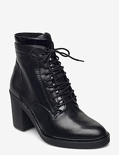 Woms Boots - enkellaarsjes met hak - black leather
