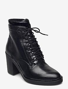Woms Boots - ankelstøvler med hæl - black leather