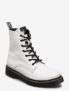 Woms Boots - platta ankelboots - white