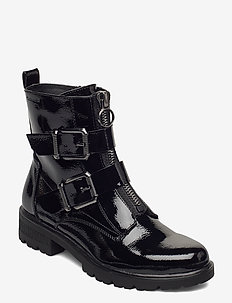 Woms Boots - flat ankle boots - black patent