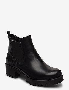 Woms Boots - ankelboots med klack - black/struct.