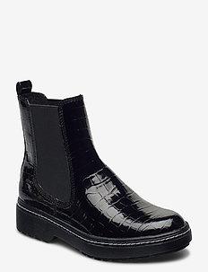 Woms Boots - chelsea støvler - blk croco pat.