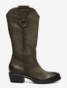 Woms Boots - lange laarzen - olive nubuc